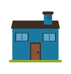 blue home family chimney grass vector image