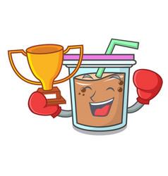 boxing winner bubble tea mascot cartoon vector image