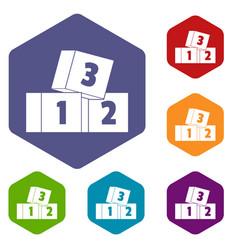 Bricks icons set hexagon vector