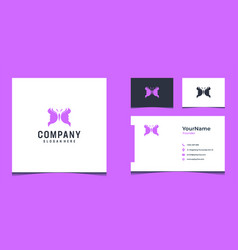 Butterfly and girl face logo design with purple vector