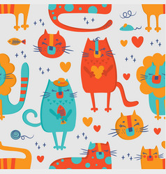 cat circus hand drawn seamless pattern vector image