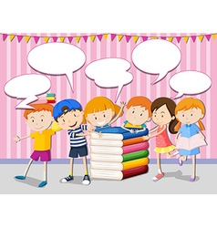 Children with books and speech bubbles vector