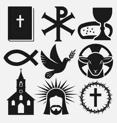 Christian symbols icons set vector