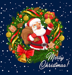 Christmas wreath with santa xmas bell and gifts vector