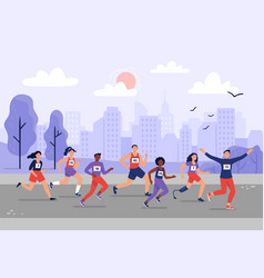 city marathon people running together athletic vector image