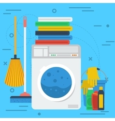 Cleaning items with washing machine vector image