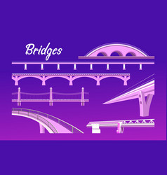 collection isolated bridges vector image