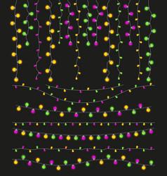 colorful light lamps garlands set for mardi gras vector image
