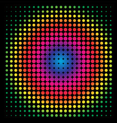Colorful rainbow circle in halftone halftone dot vector