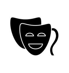 Comedy black glyph icon funny movie humorous film vector