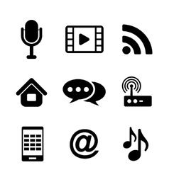 Communications and multimedia icons vector image