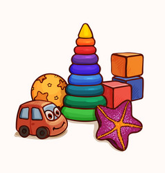 composition of several bright toys bright cartoon vector image