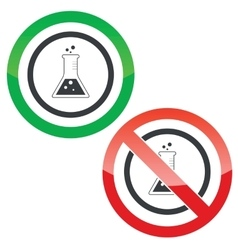 Conical flask permission signs vector