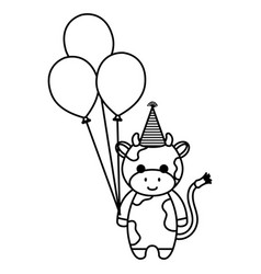 cute and little cow with hat and balloons air vector image