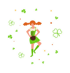 Cute cartoon girl leprechaun dancing vector