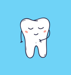 Cute cheerful molar tooth with peaceful face vector