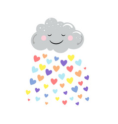 cute cloud and rain colored hearts vector image
