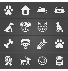 Cute pet icons on black vector image