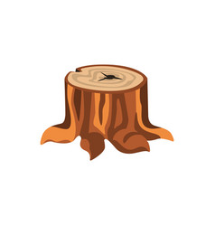 Detailed cartoon tree stump with roots vector