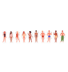 different people body shape types infographic vector image