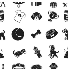 Dog equipment pattern icons in black style Big vector