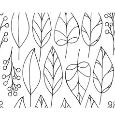 doodle seamless pattern with leaves on white vector image