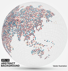 Dots colorful three-dimensional map of the vector