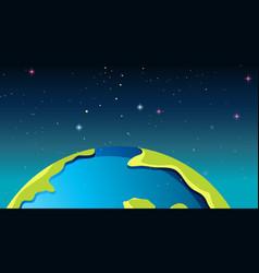 Earth in space scene vector
