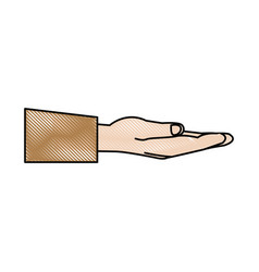 Empty open hand assitance support icon vector