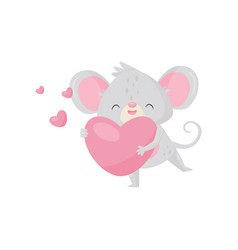 enamored little mouse holding pink heart in paws vector image