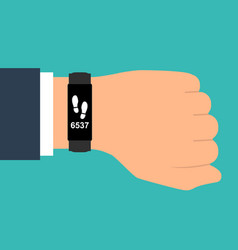 Fitness tracker on hand sport accessories smart vector