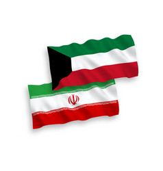 Flags iran and kuwait on a white background vector