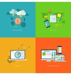 Flat seo business mobile concept design vector