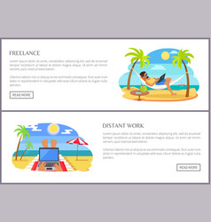 Freelance and distant work promo internet pages vector