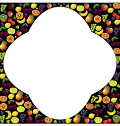 Fruits frame made with different fruits over dark vector