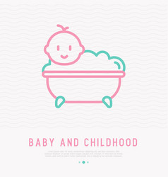 Funny baby in bathtub with bubbles vector
