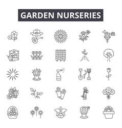 Garden nurseries line icons signs set vector