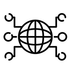 Globe and remote sites icon outline style vector