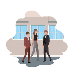 group business with wall and windows avatar vector image