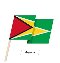Guyana Ribbon Waving Flag Isolated on White vector