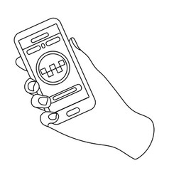 hand holding a phone to call for order taksi vector image