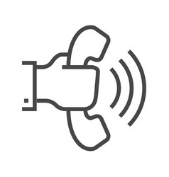 Hand with phone thin line icon vector
