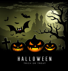 happy halloween full moon three pumpkins vector image