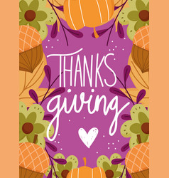 happy thanksgiving day background pumpkins acorn vector image