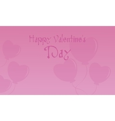 Happy Valentine with fly heart balloon vector