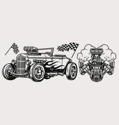 hot rod classic custom car concept vector image
