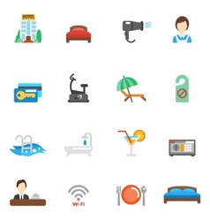 Hotel Flat Icon Set vector image