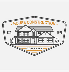house construction company identity with suburban vector image