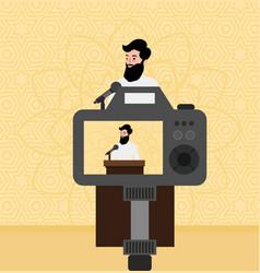 Islam preacher man teacher talking religious faith vector