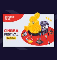 isometric cinema fest banner vector image